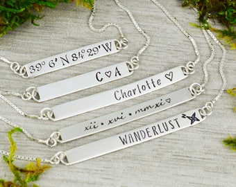 Custom Bar Necklace // Personalized Bar Necklace // Wedding or Anniversary Gift  // Coordinate Jewelry // New Mom Gift