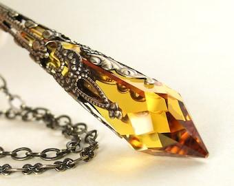 Crystal Amber Topaz Necklace Antique Gold Brass Necklace Golden Icicle Swarovski Crystal Necklace Topaz Pendant Necklace November Jewelry
