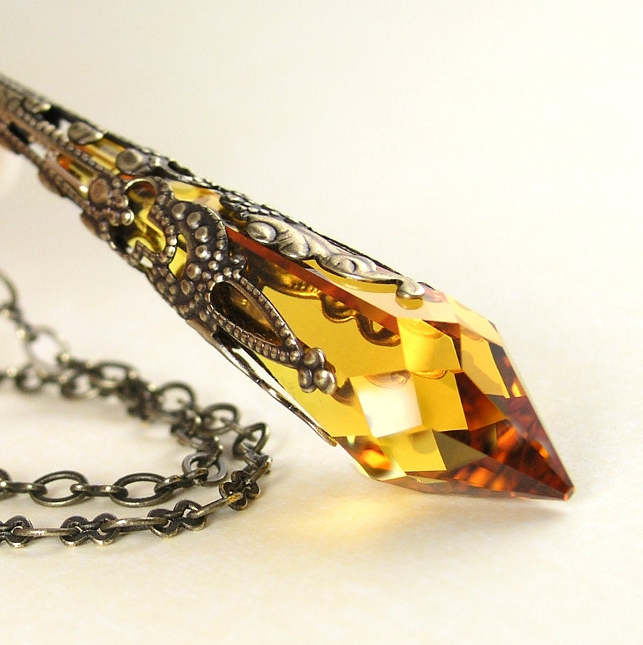 Crystal amber topaz necklace antique gold brass necklace zoom aloadofball Image collections