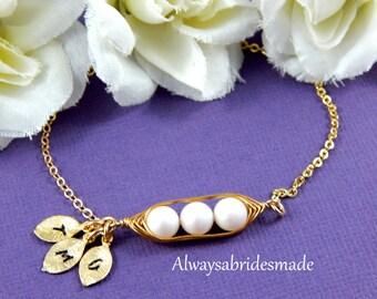 Three Peas In A Pod Bridesmaids or Bridal Bracelet , Personalized Bracelet, Gold Filled, Mother's Bracelet