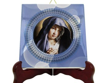 Religious decor - Virgin Mary in Prayer - catholic icon on tile - handmade catholic decor - Virgin Mary art - christian decor - catholic art