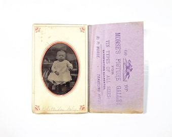 Vintage Tintype Photo of Baby with Paper Advertising Frame / Civil War Era Tintype Photograph