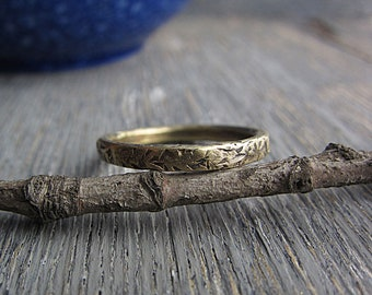 Narrow Brass Band Ring Hammered Metalwork Earthy Rustic Boho Ring Textured Minimalist Ring Simple Ring Boho Wedding Band Boho Rustic Jewelry