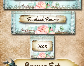 Custom SHOP BANNER Set•Facebook Cover•Chippy Design