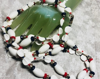 "Vintage 54"" Red White and Blue Beaded Single Strand Necklace"