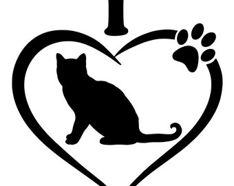 I love cats decal , cute decal , car decal , cat decal , cats , i love cats