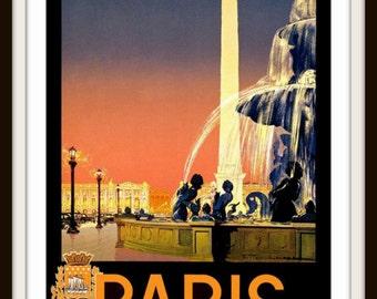 "Vintage Travel Poster  ""Paris"" circa 1920 - Giclee Art Print - Paris Poster - Vintage Paris Wall Art - Parisian Art - France Poster"
