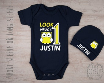 First Birthday Outfit Boy, One Year Old Boy Birthday Outfit, Personalized Baby Bodysuit & Baby Hat Set, Baby Boy First Birthday Outfit