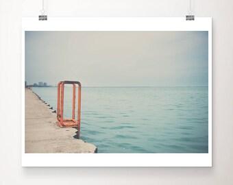 Chicago photograph travel photography Lake Michigan photo Chicago print Lake Michigan print minimalist photograph orange home decor