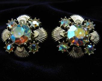 Vintage Rhinestone Clip Earrings, Signed Coro, Aurora Borealis Rhinestones. Gold Shell, Bridal Jewelry, Wedding Jewelry, Bridesmaid Earrings