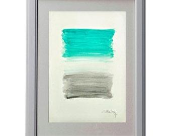 Turquoise, white and grey. Minimalist.