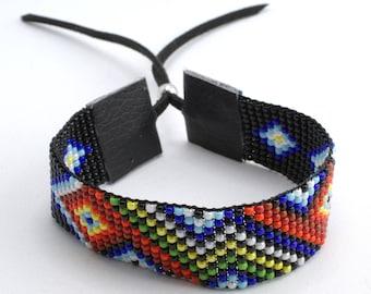 Bead Loom Bracelet, Native American Style Bracelet, Etnic Beaded Bracelet, Native American Cuff Bracelet, Handmade Bracelet, Jewerly, Cuff