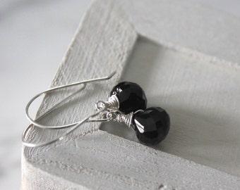 Black Minimal Earrings -Black Spinel Gemstone Earrings-  Silver Earrings- - Wire Wrapped Jewelry - Silver Lily Jewelry