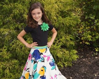 Girls Maxi Skirt, Girls Long Skirt, Girls Circle Skirt, Girls Floral Skirt, Girls Maxi Dress