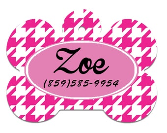 Pink Zoe Pet Tag, Personalized Pet ID Tag, Quatrefoil pet tags, Dog tags, pet id tags, cute pet tags,  double sided tags, id tags for pets