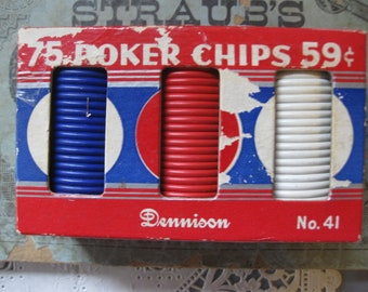 Vintage Dennison Unbreakable Poker Chips, No. 41, 75 Red, White and Blue Paper Poker Chips