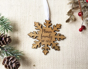 Personalized Wooden Snowflake Ornament - Laser Cut and Engraved - Couples First Christmas - Custom Wooden Ornament