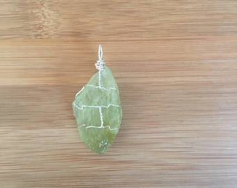 Green Calcite wire-wrapped necklace