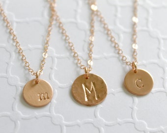 Rose Gold Filled Initial Necklace, Personalized Initial Disc Necklace, Dainty Initial, Mom Necklace, Bridesmaid Gift, Gift for Women, Wife