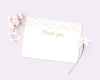 Thank you Printable Card, Gold Thank you card, Gold confetti thank you card, Printable thank you note, Instant download