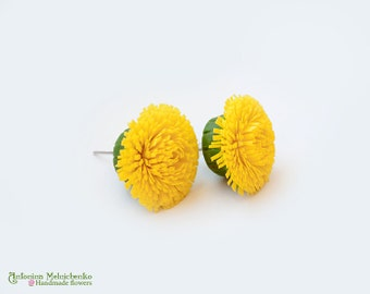 Earrings Dandelions - Polymer Clay Flowers