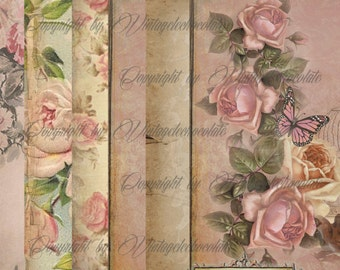 Digital Pink Floral Paper, Pink Rose Scrapbook Paper, Vintage Floral Background, Digital Download, Vintage Decoupage. No. p.37