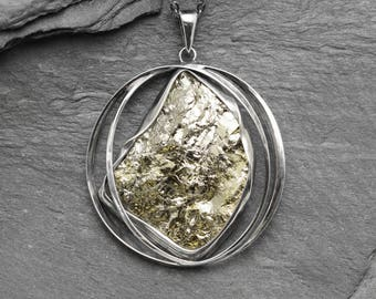 Pyrite pendant,Natural Pyrite,Amulet pendant,Heart chakra, Metalwork jewelry,Gemstone,silver pendant,silver,natural,pyrite,pendant