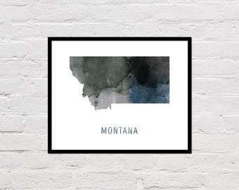 Montana Map Print, Montana Art Print, Montana Printable, Wall Art, Watercolor Map, Montana Poster, Printable Montana State Map, Download