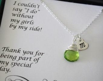 5 Personalized Bridesmaids Gifts, Bridesmaids Necklaces, Bridesmaid Thank Your Card, Initial Charm, Heart charm, Birthstone Necklace