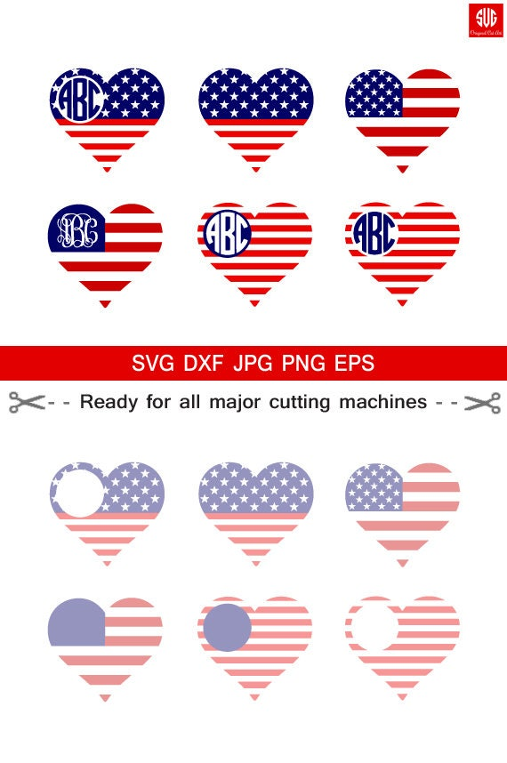American flag love monogram frames 4th of july svg memorial for Kmz to dxf