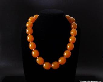 "Vintage Amber Choker, Old natural baltic Amber bead necklace, vintage amber choker of 74g & 18""."