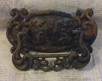 Vintage Antique Ornate Brass Rustic Drawer Pull / Handle