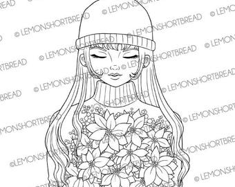 Digital Stamp Poinsettia Bouquet Girl, Christmas, Digi Download Winter, Merry Xmas, Coloring Page, Clip Art Card Scrapbooking Supplies