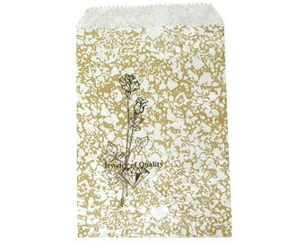 """100 Gold Rose Merchandise Retail Paper Party Favor Gift Bags 4"""" x 6"""" Tall"""