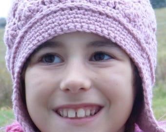 Rose Earflapped Hat, Women's hat, Girl's hat, Pink hat, Winter hat, Crocheted hat, Crocheted Women's hat, Earflapped hat