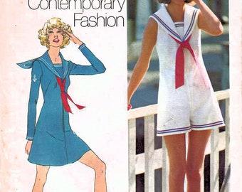 1970s Simplicity 9982 Vintage Sewing Pattern Misses Sailor Mini Dress, Pantdress Size 18 Bust 40