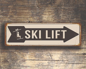 SKI LIFT SIGN, Ski Lift Signs, Vintage Style Ski Lift Sign, Ski Signs, Skier Signs, Ski Decor, Directional Ski Lift Sign, Ski Art, Ski Decor