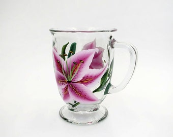 Hand Painted Pink Stargazer Lily Glass Cafe Mug Stargazer Lilies Coffee Mug