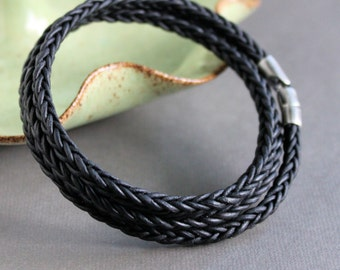 Mens Triple Wrap Bracelet, Mens Black Leather Bracelet, Mens Braid Bracelet