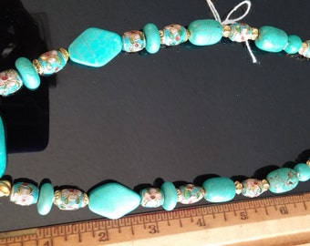 Turquoise and Cloissone Necklace