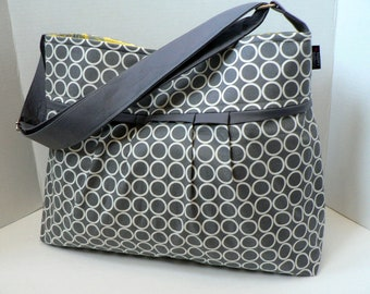 The Monterey Diaper Bag Medium - In Circles In Pewter  Design Your Own - Adjustable Strap and Elastic Pockets