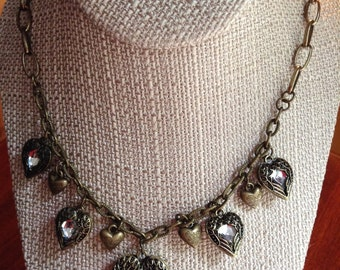 Vintage Gold Looped Chain and Hearts Necklace