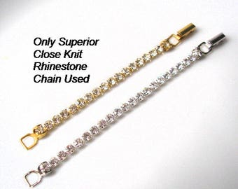 Rhinestone Necklace Extender, Fold Over Clasp, Chain Extender, Necklace Lengthener, Gold Extender, Silver Extender, Necklace Extension