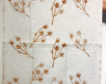 Hand printed linen tea towel -straw flower