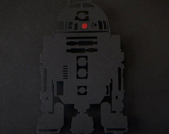Star Wars R2D2 // silhouette hand cut paper craft shadow box 3D framed wall art geek artwork