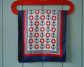 Vintage KREIER 100% Pure Silk Scarf. Abstract Graphic Geometric Anchor Design Print in Navy Blue Red and White. Swiss made 1970s 1980s 70s