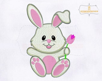 Cute and Lovely Bunny Embroidery Design | 4x4 Hoop | | 5x7 Hoop | | 6x6 Hoop | 8x10 Hoop Embroidery Design | Rabbit Embroidery Designs
