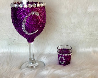 Initial Wine Glass and Shot Glass Set