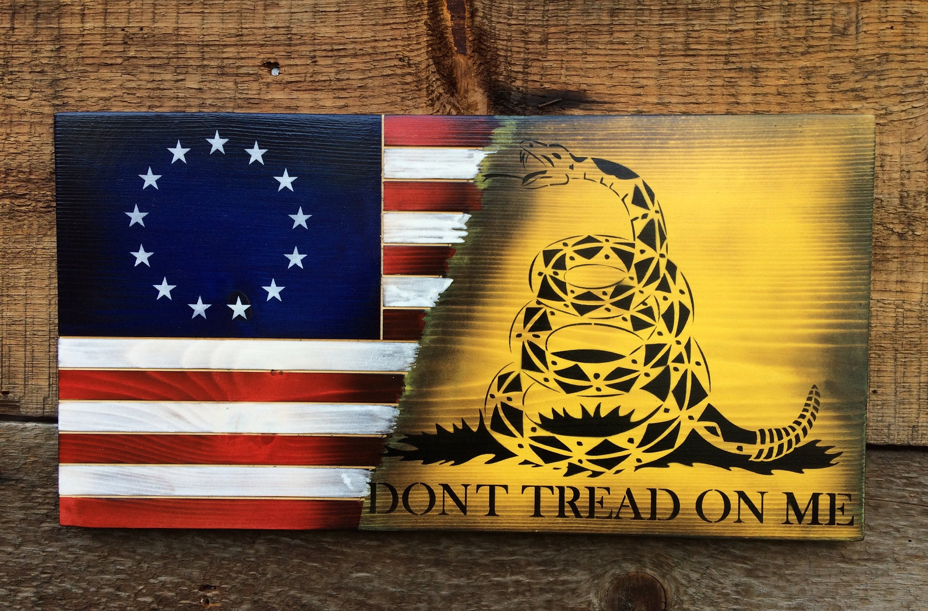 Don\'t Tread on Me American flag wall art Betsy Ross flag.
