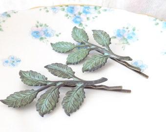 Verdigris Leaf Branch Bobby Pin Set - Hand Patina Leaf Branch Hair Pins - Woodland Branch Hair Pins - Wedding Hair Pins - Bridal Hair